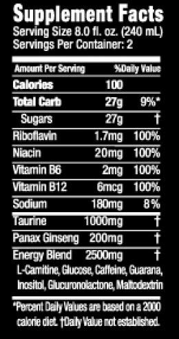 u energy drink nutritional information throttle nutrition facts