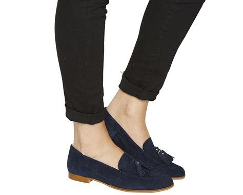 womens navy suede loafers womens office tassel loafers navy suede flats
