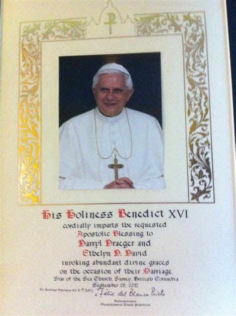 Wedding Blessing By The Pope by Papal Blessing Pope Pictures To Pin On Pinsdaddy
