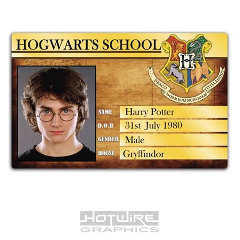 harry potter id card template plastic id card tv prop harry potter hogwarts