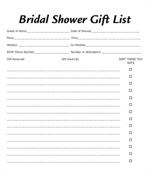 printable bridal shower list bridal shower gift list templates 5 free word pdf