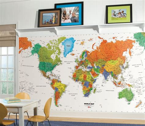 kid friendly large colorful world map wall decals