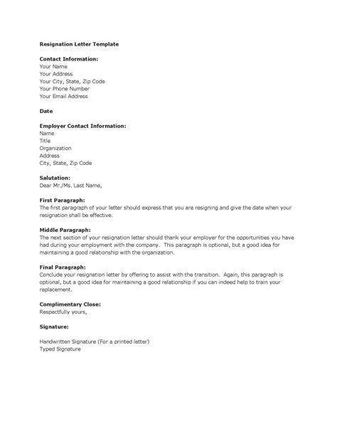 sample resignation letter template bio example