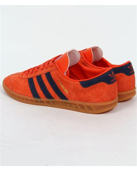 adidas sneakers shoes official adidas adidas hamburg trainers orange navy originals mens