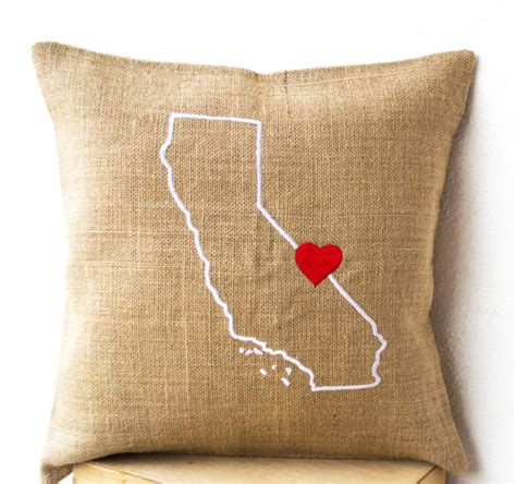 Embroidered State Pillows by Burlap Pillows State Pillow Cover Embroidered Pillow