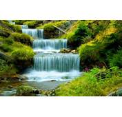 River With Cascading Waterfall Water Stones Green Grass