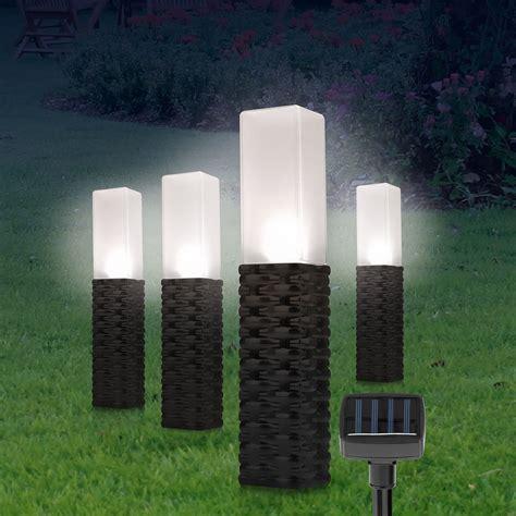 solar gartenbeleuchtung solar rattan leuchten obelisk 4er set schwarz