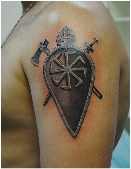 shoulder shield tattoo shield axe and sword tattoos on arm jpg 460 215 595
