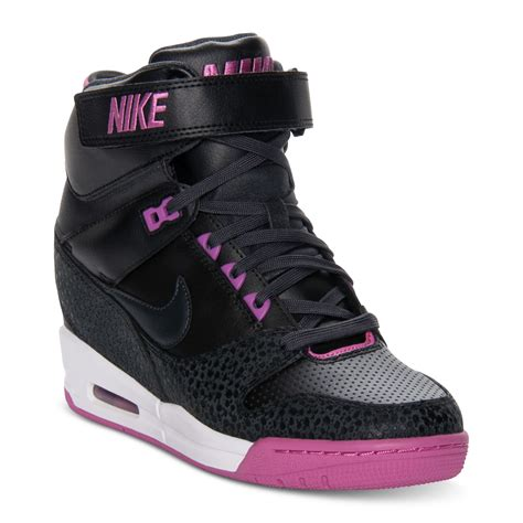 nike air revolution sky hi casual wedge sneakers in black