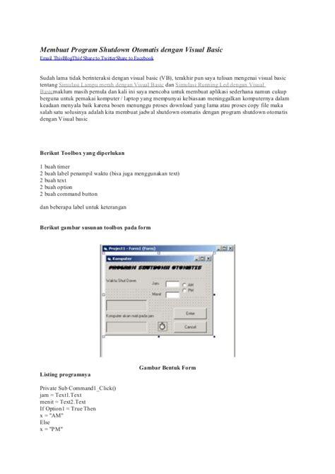 membuat email otomatis dengan php membuat program shutdown otomatis dengan visual basic