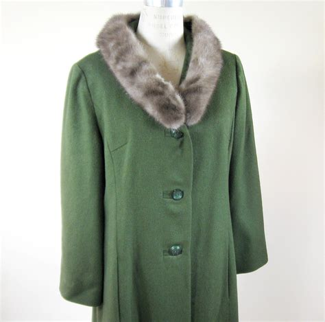 fur swing coat 60s green wool swing coat mink fur collar by