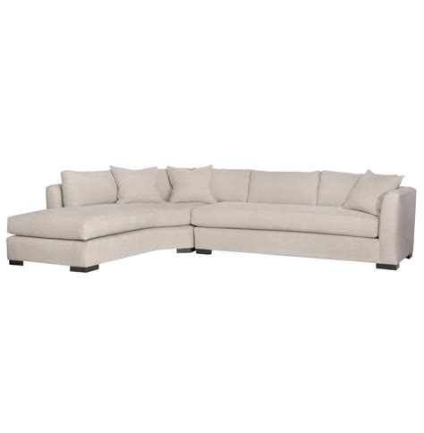 left arm sectional adair ivory linen 2 piece sectional down sofa left arm