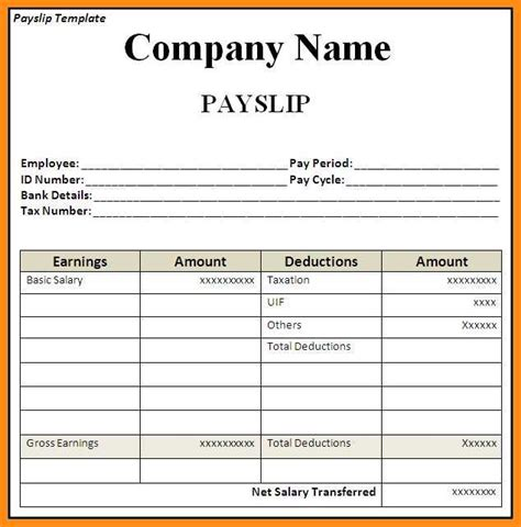salary receipt template excel 8 salary slip format in excel odr2017