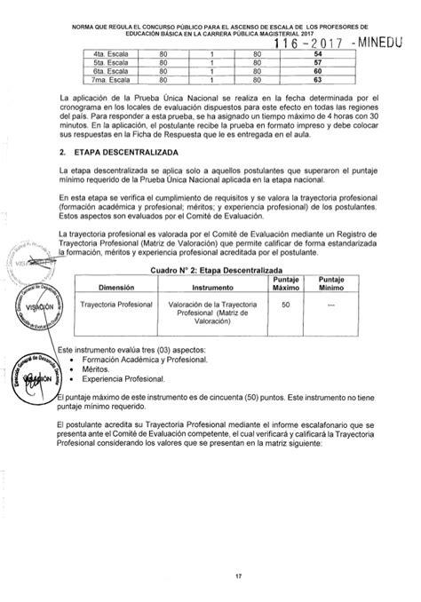 evaluacion de ascenso segunda 2016 rsg n 186 116 2017 minedu norma tecnica para el concurso