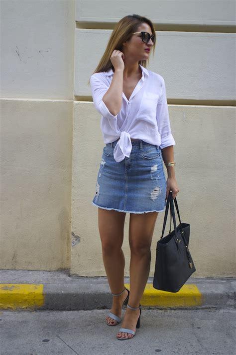 Doff Mini White amaras la moda white blouse denim skirt sandals zara
