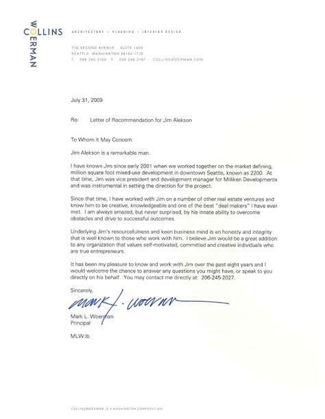 Recommendation Letter For Architect Employee Collins Woerman Architects Letter Of Recommendation