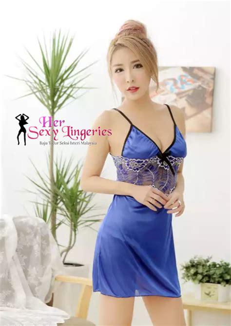 Teddies Blue Baju Tidur flora lace nightwear dress blue ab700bl