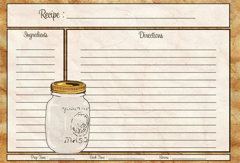 printable recipes mason jar recipe card 4x6 pdf cocina recetas