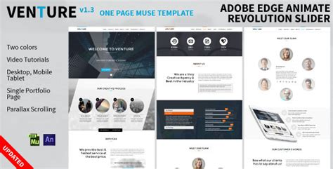 venture one page animated muse template jogjafile