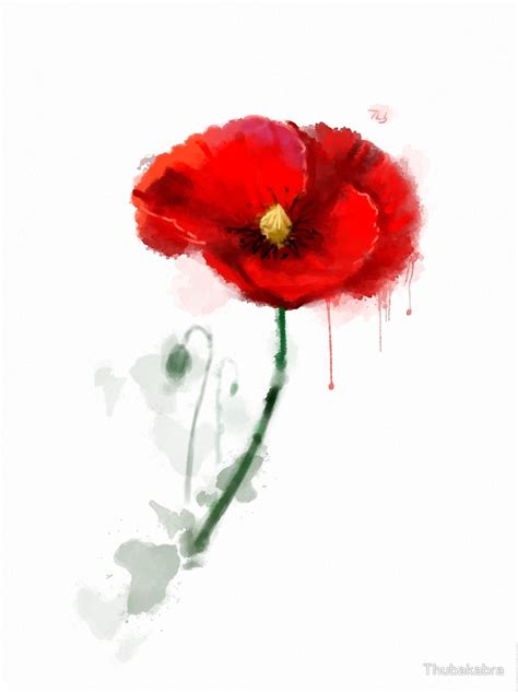 Poppy Wall Stickers quot red poppy watercolor painting quot by thubakabra redbubble