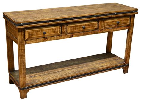 pine sofa table with drawers addison rustic pine wood sofa table console with 3 drawers