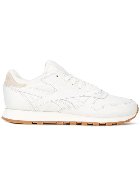 reebok classic leather sneakers reebok classic leather sherpa sneakers in white lyst