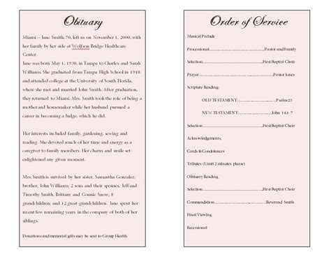 obituary program template single fold memorial program funeral phlets