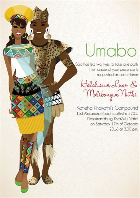Traditional Invitation Card Template by South Zulu Traditional Wedding Invitation Card