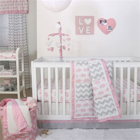 nursery bedding and curtain sets pink elephant and grey chevron patchwork 3 crib bedding set peanut shell 615339564910 ebay