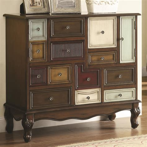 accent tables and chests coaster furniture 950327 mismatched drawers accent cabinet