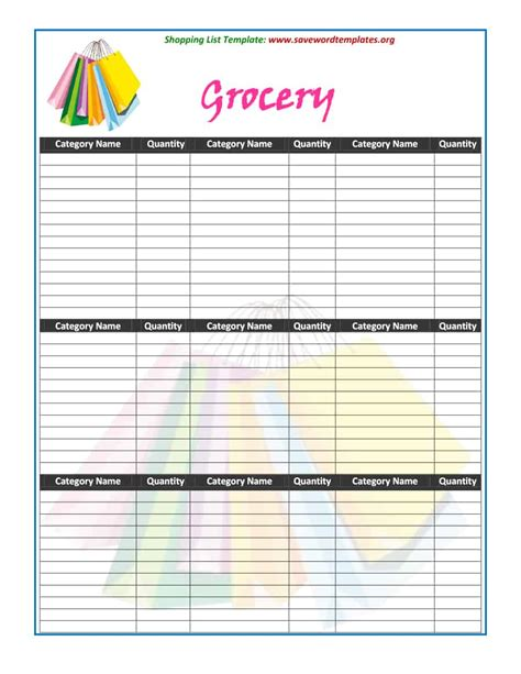 40 Printable Grocery List Templates Shopping List ᐅ Template Lab Shopping List Template