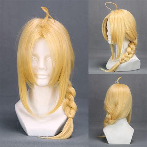 cgv fullmetal alchemist perruque blonde avec natte tresse 45cm cosplay fullmetal