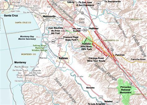 san jose fault line map earthquake map hollister ca