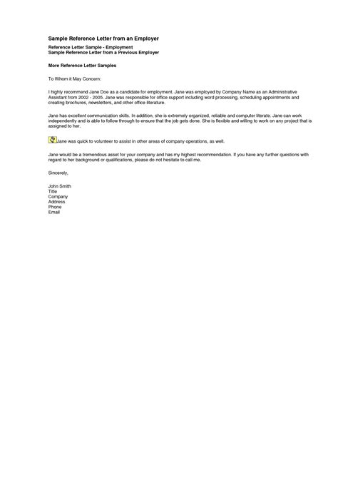 letter of recommendation for employment templates oshibori info