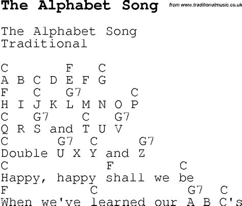 Letter Ukulele Chords Childrens Songs And Nursery Rhymes Lyrics With Chords For Guitar Banjo Etc For Song The