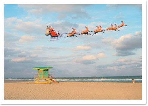 santa  sleigh  beach christmas card