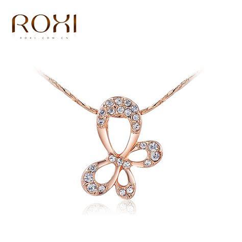 Kalung Kalung Silver Lapis Emas Putih Pendant Kupu Kupu Fashion Ko roxi merek baru hadiah display perhiasan kalung kupu kupu liontin berlapis emas rantai untuk