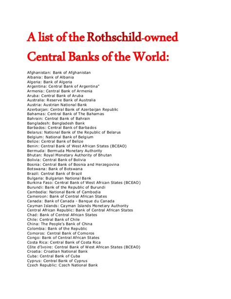 who owns the world banks list of the rothschild owned central banks of the world