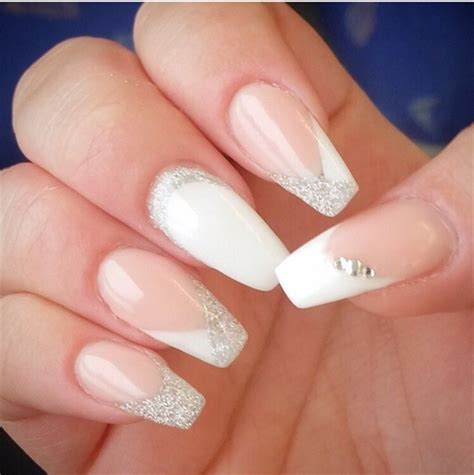 top 55 beautiful white acrylic nails