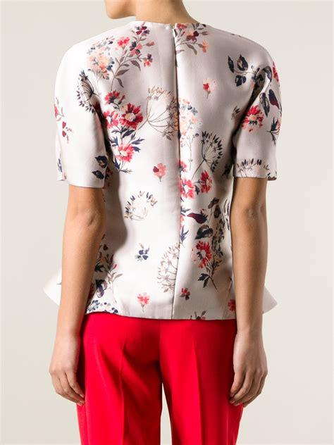 Floral Peplum Blouse Dress Atasan Wanita lyst stella mccartney floral peplum blouse in pink