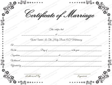 certificate of marriage template vintage flowers marriage certificate template ministry