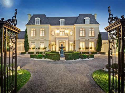 Southern Living Dining Rooms by French Chateau Style Gated Mansion In Victoria Australia