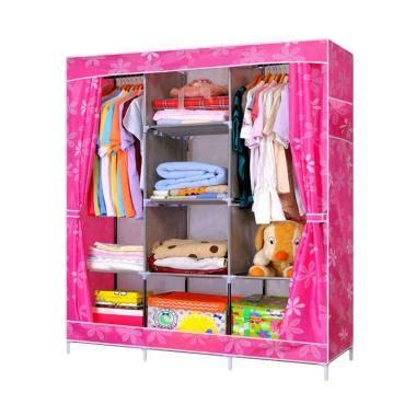 Lemari Pakaian Jumbo Portable jual motif dot flower lemari pakaian portable pink