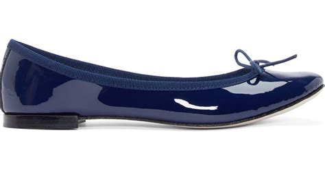 navy patent flat shoes lyst repetto navy patent leather cinderella flats in blue