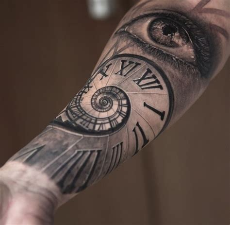 tattoo eye with clock 25 outstanding spiral forearm tattoos stock golfian com