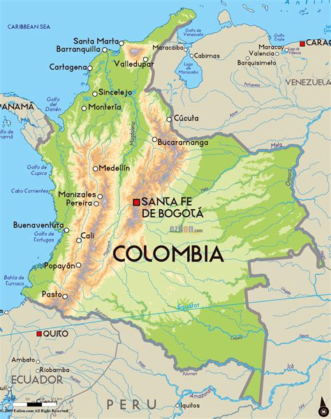 map of colombia south america detailed physical map of colombia with major cities