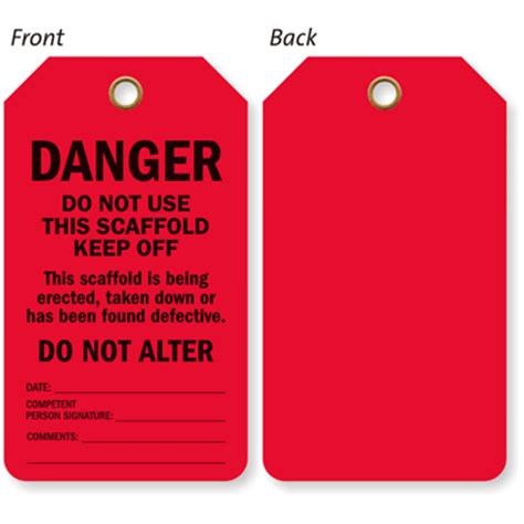 printable scaffold tags do not use scaffold or climber secure status red tag