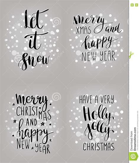 set  hand calligraphic winter holidays quotes stock illustration illustration  deer show