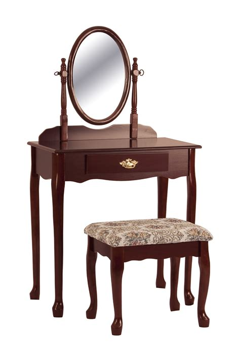 Wood Vanity Table And Stool cherry vanity table set mirror stool wood bedroom