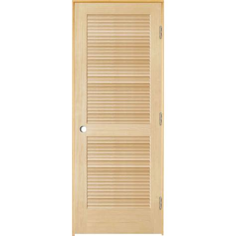 Louvered Doors Exterior Shop Reliabilt Unfinished Louver Wood Pine Single Pre Hung Door Common 36 In X 80 In